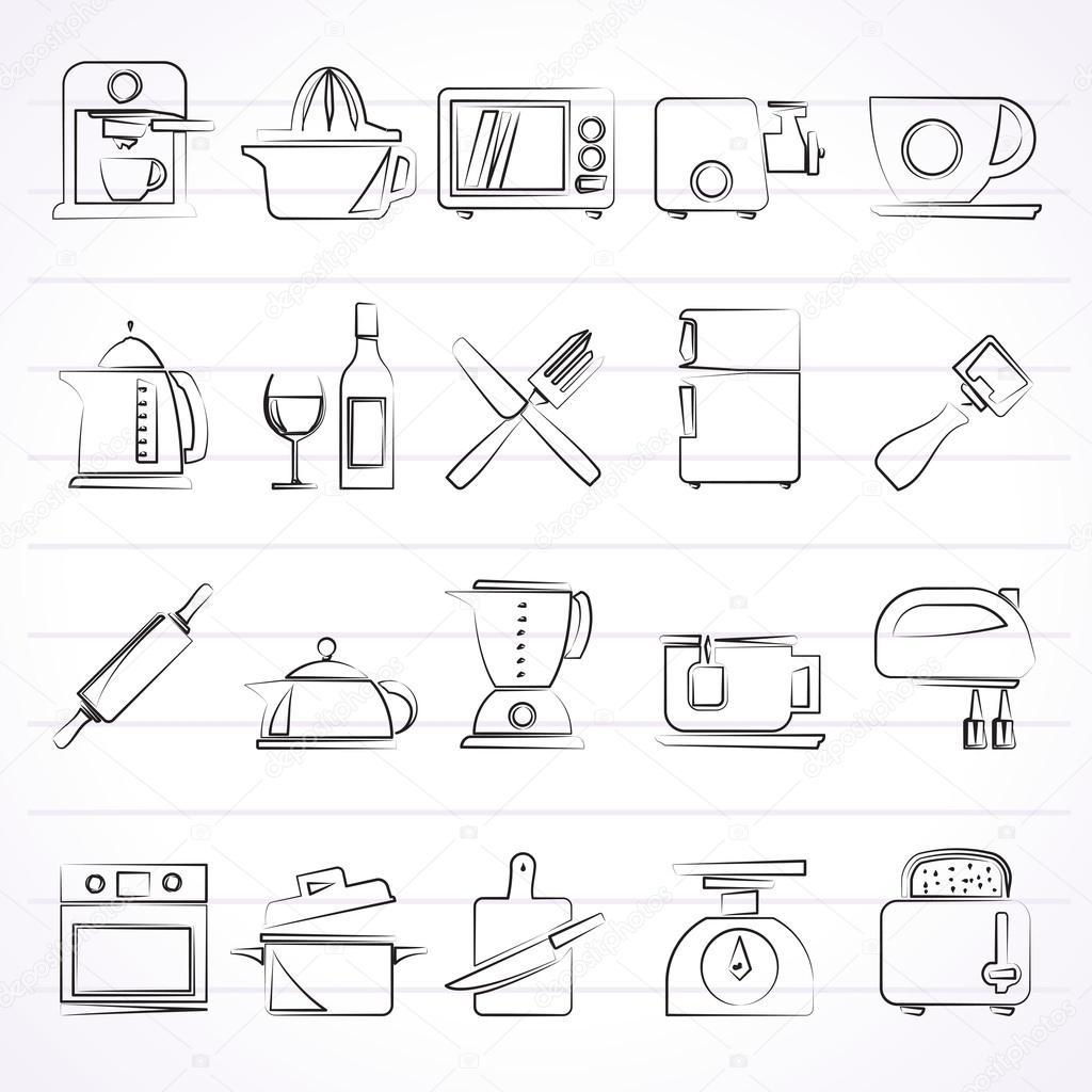 Utensili da cucina oggetti e icone della strumentazione — Vettoriali ...