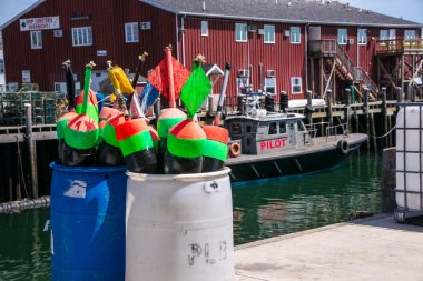 Lobster Bupys on a Maine wharf