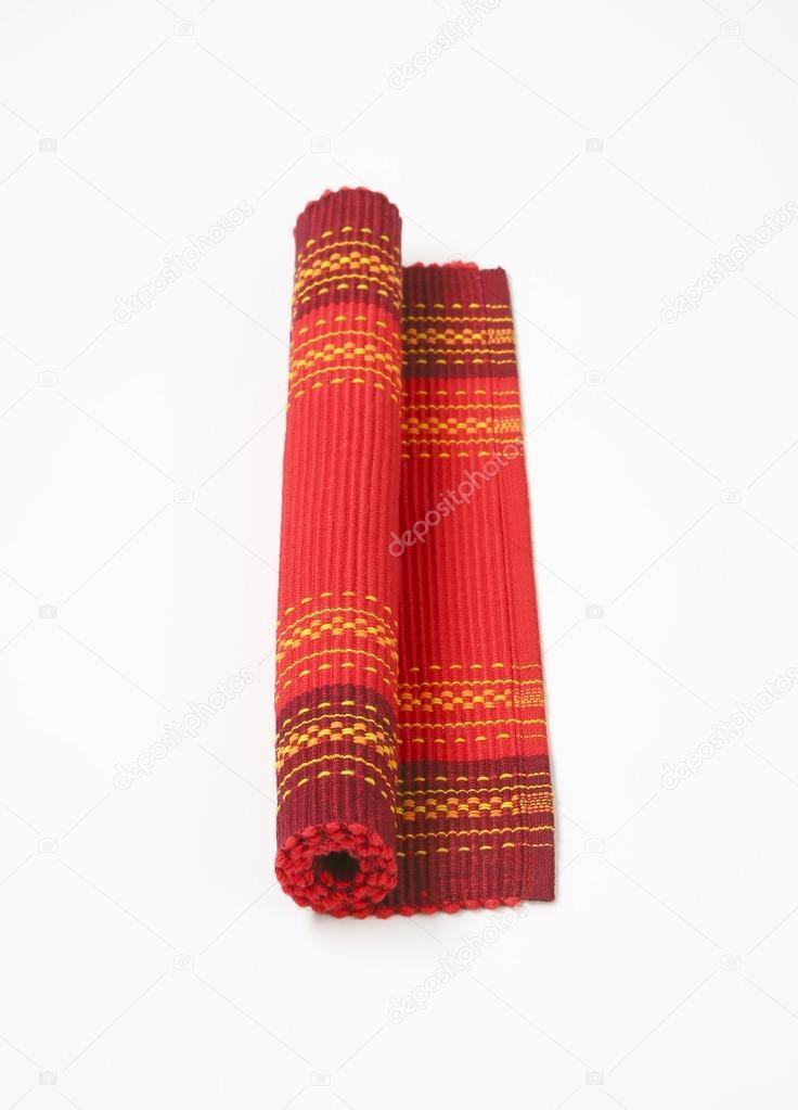 Tischset Rot Baumwolle Gerippt Stockfoto C Ajafoto 106173406