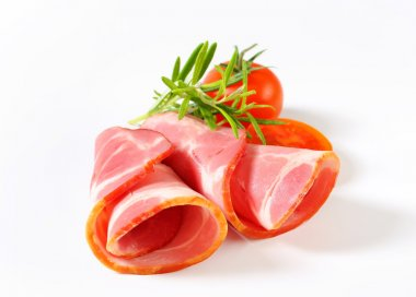 Slices of smoked pork - rolled up