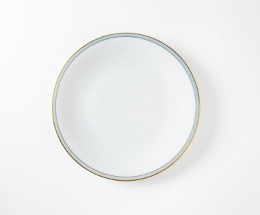 White plate with blue and gold band