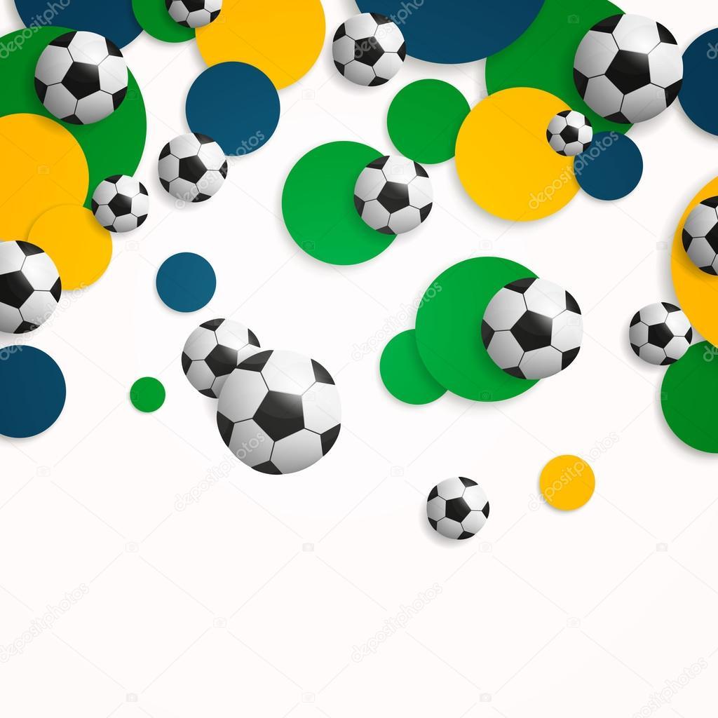 Vector fondo con balones de fútbol — Vector de stock 6526b2872114d