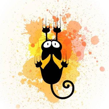 Vector Cartoon Cat Scratching Wall
