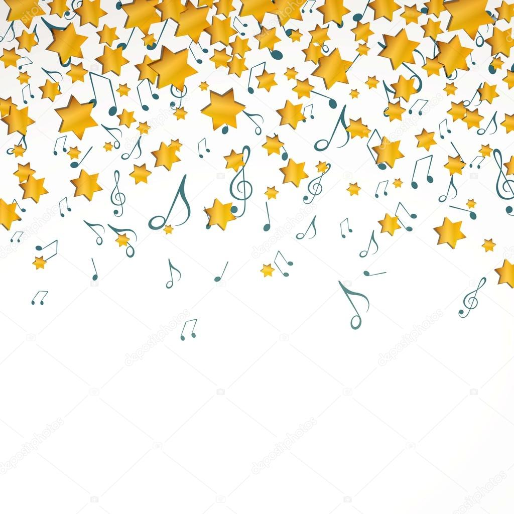 Christmas Music Background.Vector Christmas Music Background With Music Notes And Stars