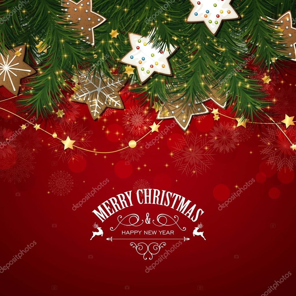 Vector Christmas Greeting Card with Christmas Cookies