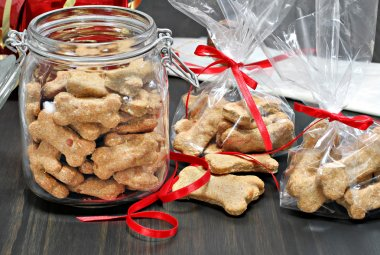 Packaging dog biscuits for Christmas.