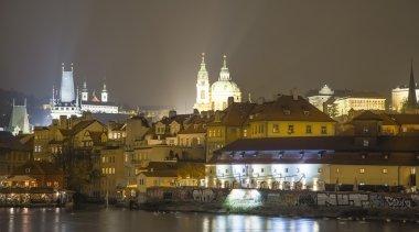 Embankment of the Vltava River near Charles Bridge, night. Prague. Czech Republic