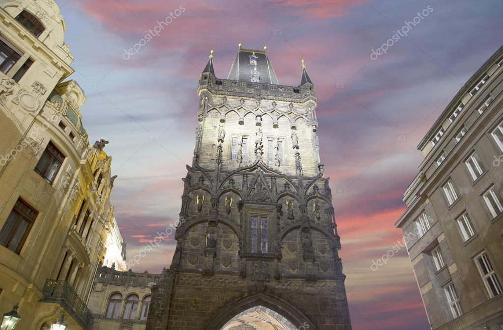 Powder Tower Gate At Evening In Prague Czech Republic It Is One
