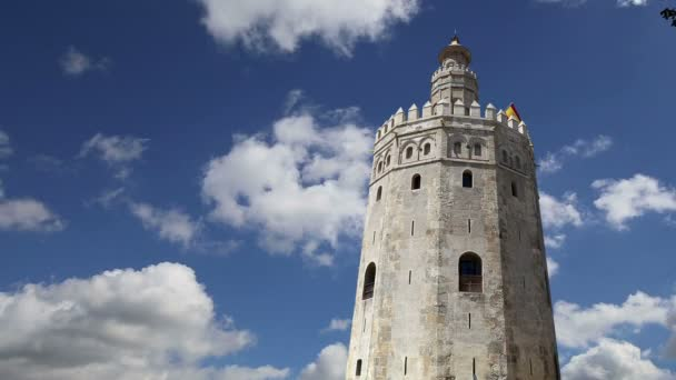 Torre del Oro or Golden Tower (13th century), a medieval Arabic military dodecagonal watchtower in Seville, Andalusia, southern Spain