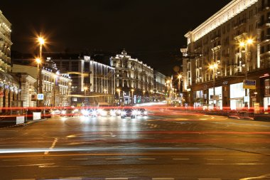Traffic of cars in Moscow city center (Tverskaya Street near the Kremlin), Russia