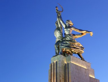 Famous soviet monument Rabochiy i Kolkhoznitsa ( Worker and Kolkhoz Woman or Worker and Collective Farmer) of sculptor Vera Mukhina, Moscow, Russia. Made of in 1937