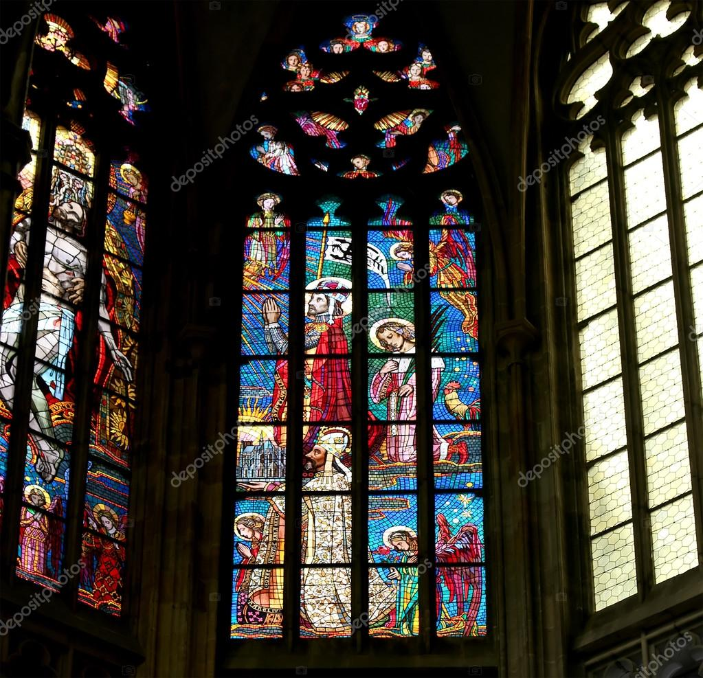 Fönster blyinfattade fönster : Art Nouveau mÃ¥lare Alfons Mucha blyinfattade fönster i St. Vitus ...