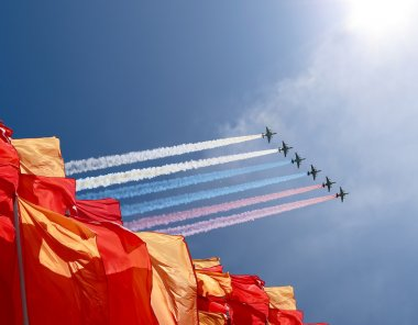 Russian military aircrafts fly in formation over Moscow during Victory Day parade, Russia.