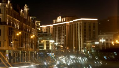 Traffic of cars in Moscow city center (Teatralny Proezd near the Building of The State Duma of the Federal Assembly of Russian Federation), Russia