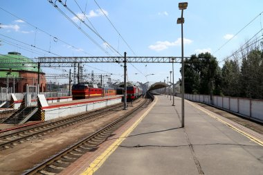 Train on Leningradsky railway station-- is one of the nine main railway stations of Moscow, Russia
