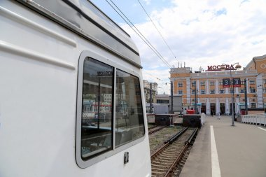 Train on Moscow passenger platform (Savelovsky railway station) is one of the nine main railway stations in Moscow, Russia