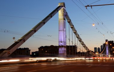 Krymsky Bridge or Crimean Bridge (night) is a steel suspension bridge in Moscow, Russia. The bridge spans the Moskva River 1,800 metres south-west from the Kremlin