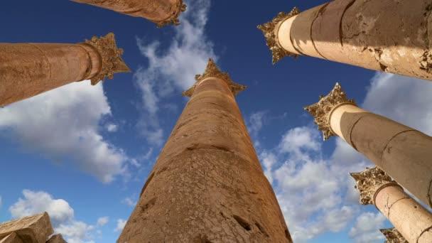 Roman Columns in the Jordanian city of Jerash,capital and largest city of Jerash Governorate, Jordan