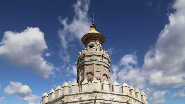 Torre del Oro or Golden Tower (13th century), a medieval Arabic military dodecagonal watchtower in Seville,Andalusia, southern Spain