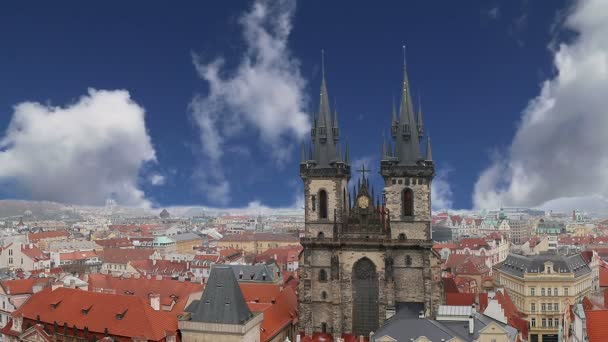 The gothic Church of Mother of God in front of Tyn in Old Town Square in Prague,Czech Republic