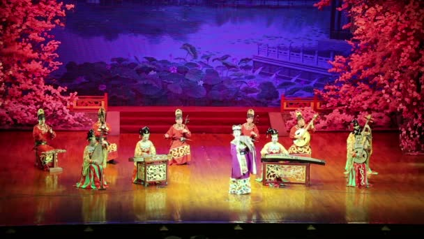 Dancers of the Xian Dance Troupe perform the famous Tang Dynasty show at the Xian Theatre,China