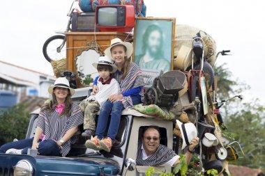 Happy Family in Old Car