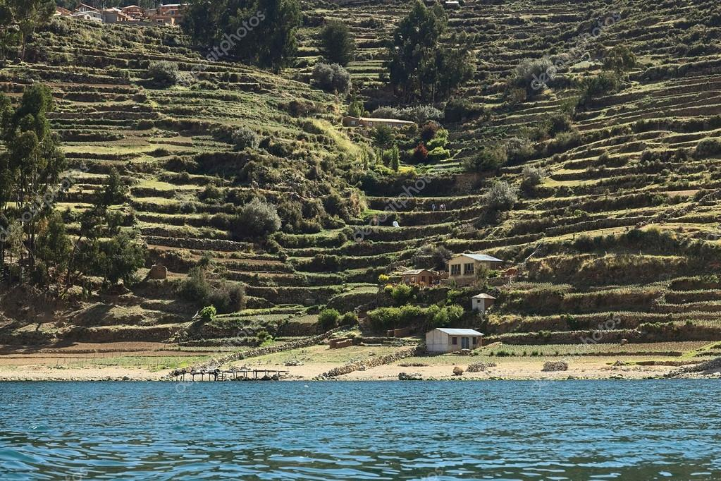 Shoreline of Isla del Sol in Lake Titicaca Bolivia