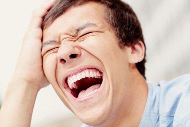 Laughing man closeup