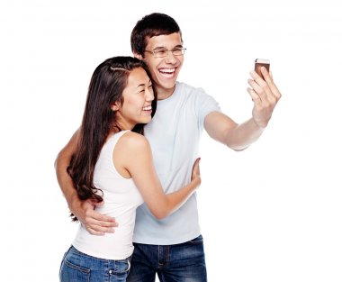 Couple photographing themselves