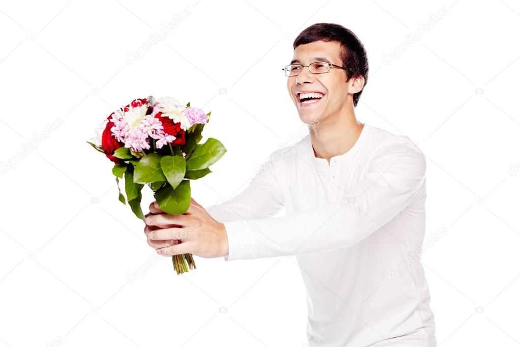 Guy giving bouquet of flowers — Stock Photo © furtaev #101582326