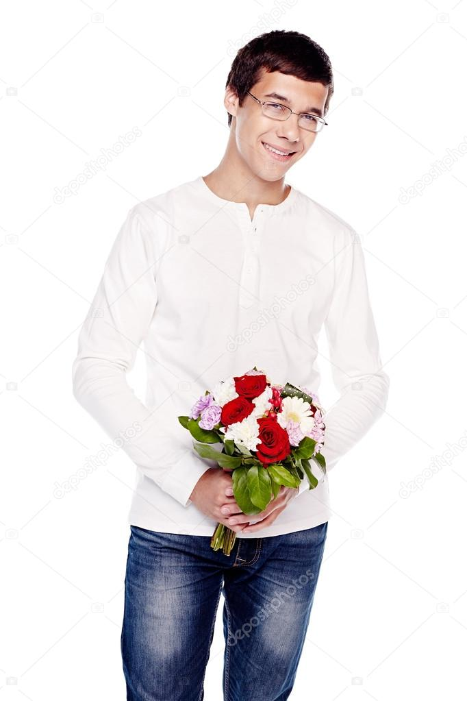 Guy with bouquet of flowers