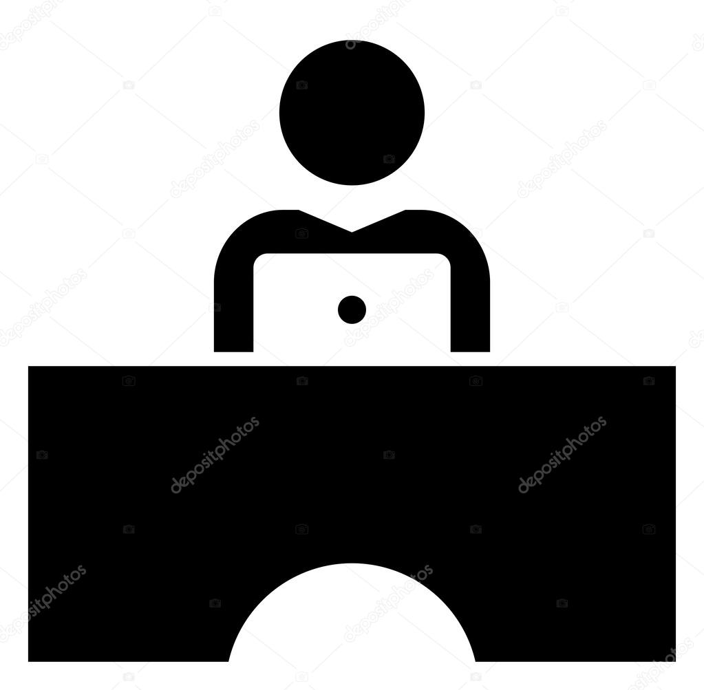 Man working on laptop icon stock vector furtaev 58083749 black vector sign of man at desk working on laptop vector by furtaev biocorpaavc Images