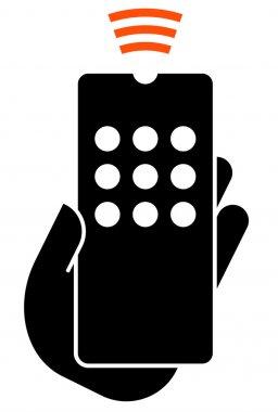 Hand hold remote control icon