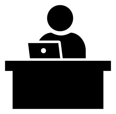 Man working on laptop icon
