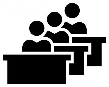 Black vector sign of students sitting at tables in audience stock vector