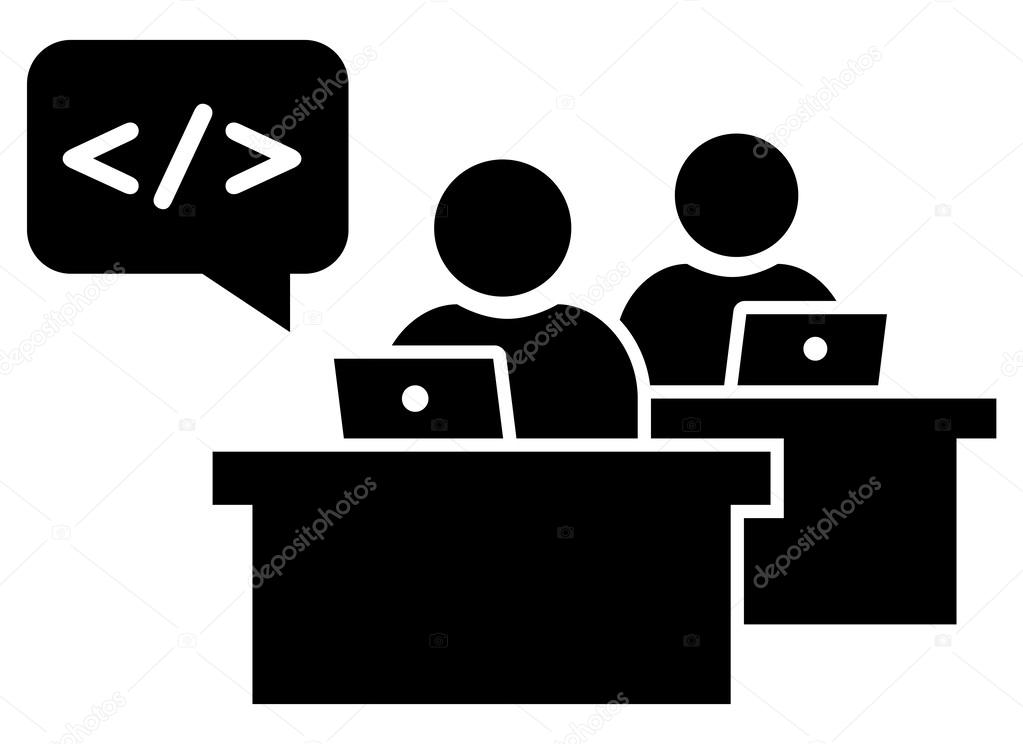 Software Developers At Workplace Icon Stock Vector Furtaev 60567733