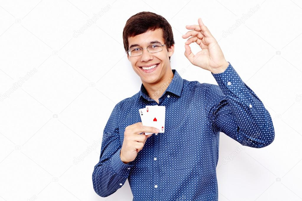 guy with cards and okay sign stock photo furtaev 80712622