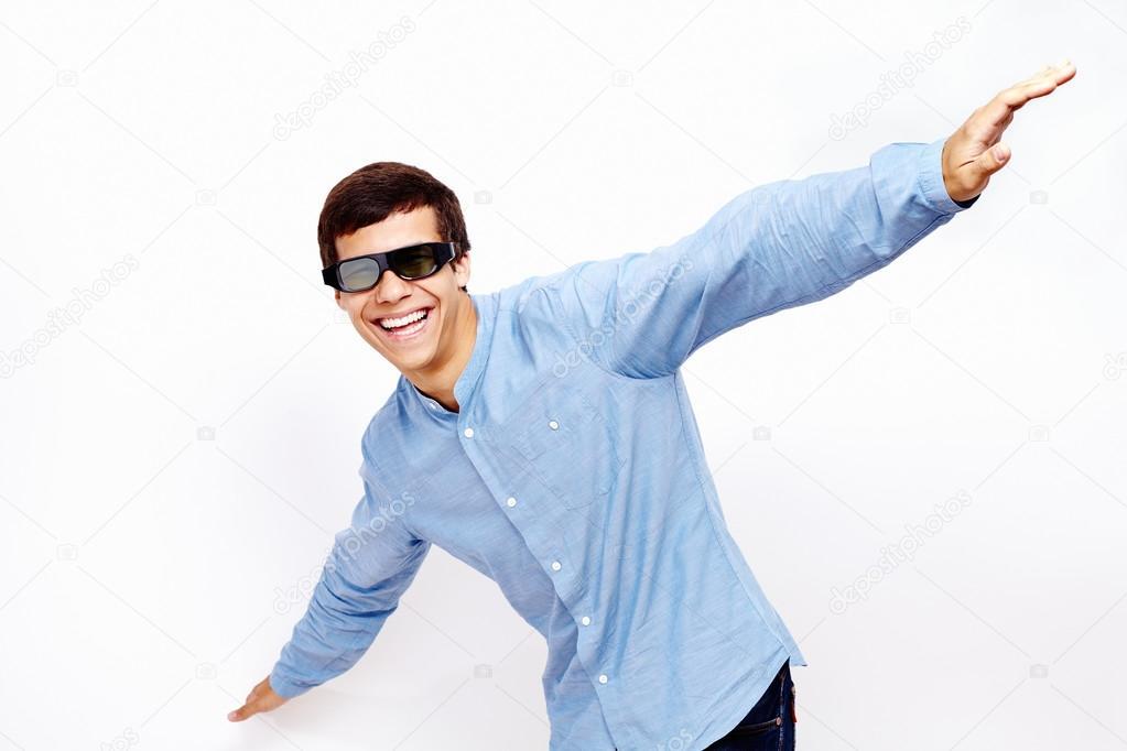 Guy flying in 3D glasses