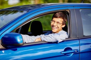 Guy in car closeup