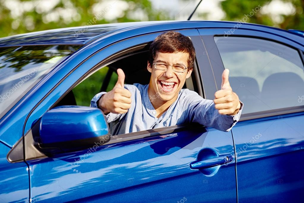 Guy Inside Car Showing Thumbs Up Stock Photo C Furtaev 95632678