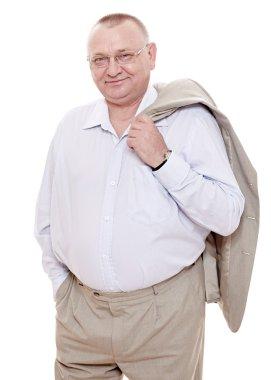 Happy retiree in suit