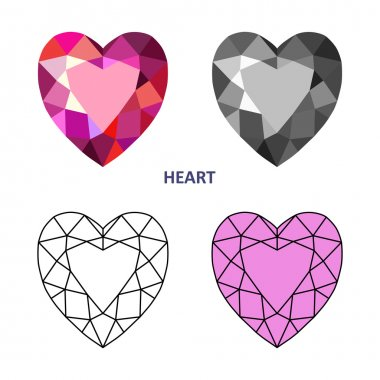 Low poly colored & black outline template heart gem cut