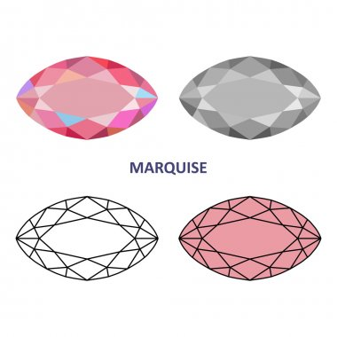 Low poly colored & black outline template marquise gem cut