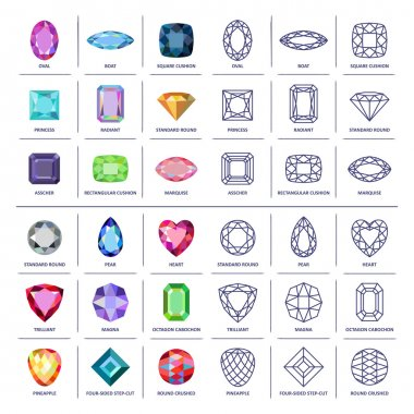 Low poly popular colored & blueprint outline gems cuts