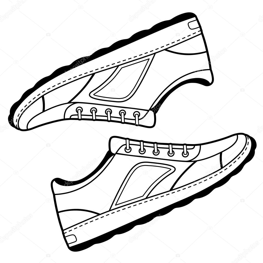 sapatos de tênis contorno preto par vetor de stock arlatis