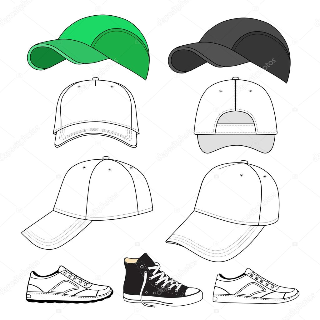 Zapatillas de deporte color delineados y conjunto de gorra de ...