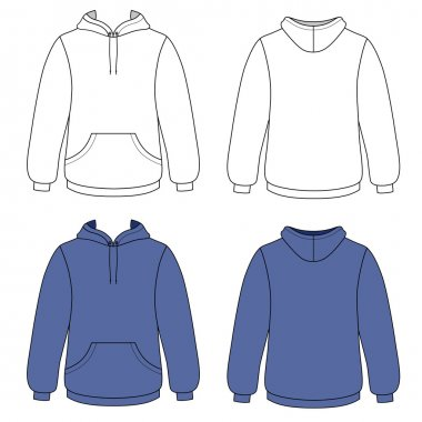Unisex hoodie (front & back outlined view)