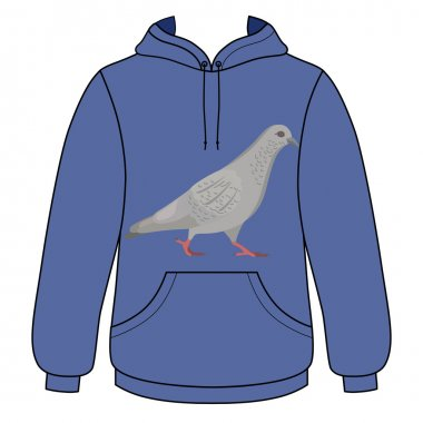 Walking dove unisex hoodie (front outlined view)