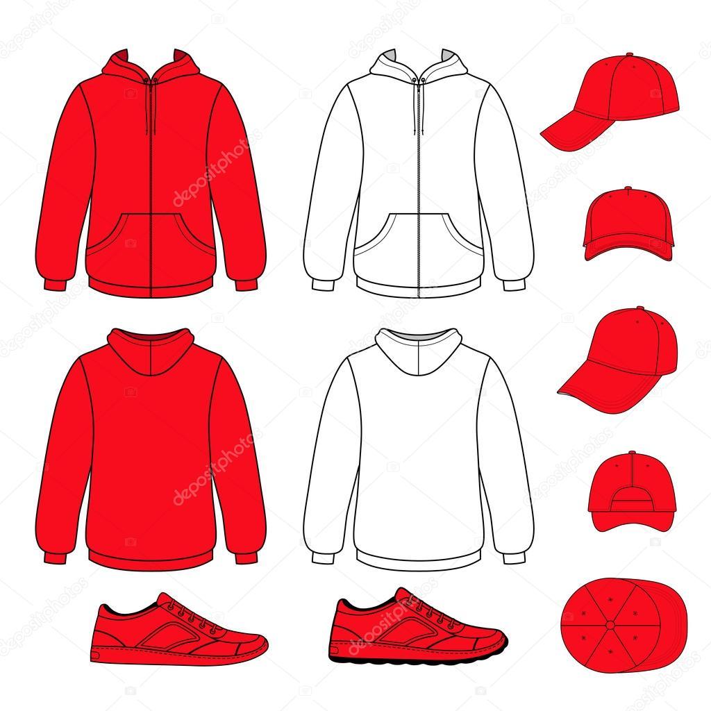 Unisex hoodie, cap, sneakers set