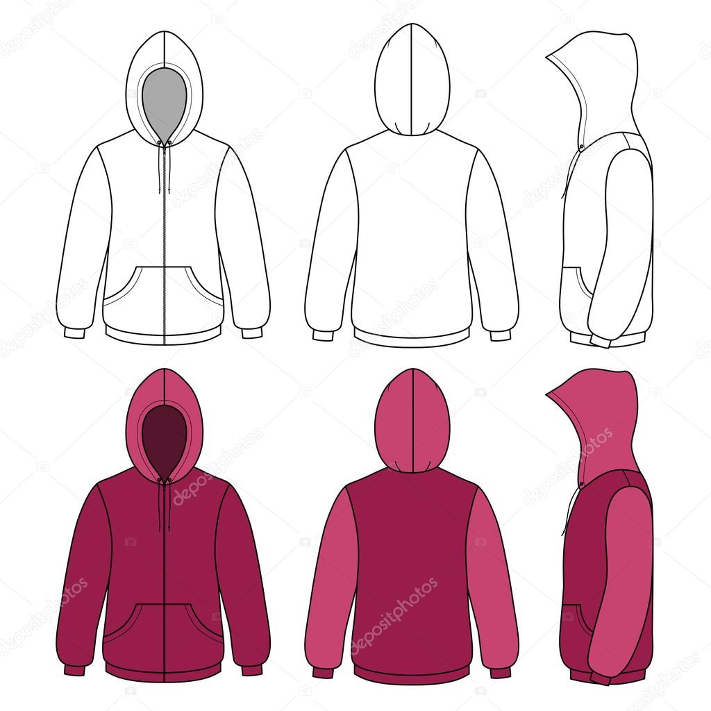 Unisex hoodie template (front, side & back outlined view ...